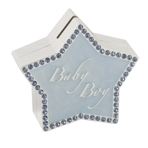Pale Blue and Diamante Star Shaped Money Box - New Baby Boy Gift